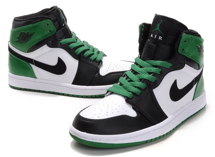 cc4e74df1e0d0 Nike Air Jordan 1s Top Layer Leather Black Green Men High Cut Sneaker