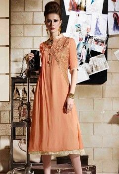 e398d54a73 Orange Color Faux Georgette Party Wear Western Kurti