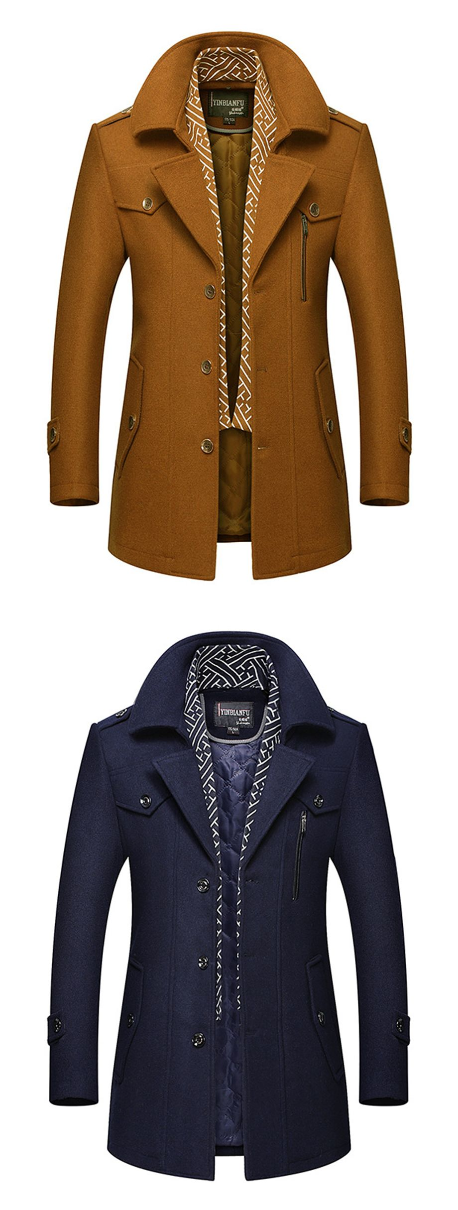 84483ab4c Material:Wool Blends; Length:Mid-Length; Sleeve Length:Long Sleeve #men 'sfashion