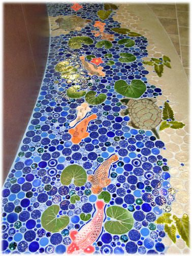 fish floor tile mosaic ceramic tiles koi pond not sure where i would put this