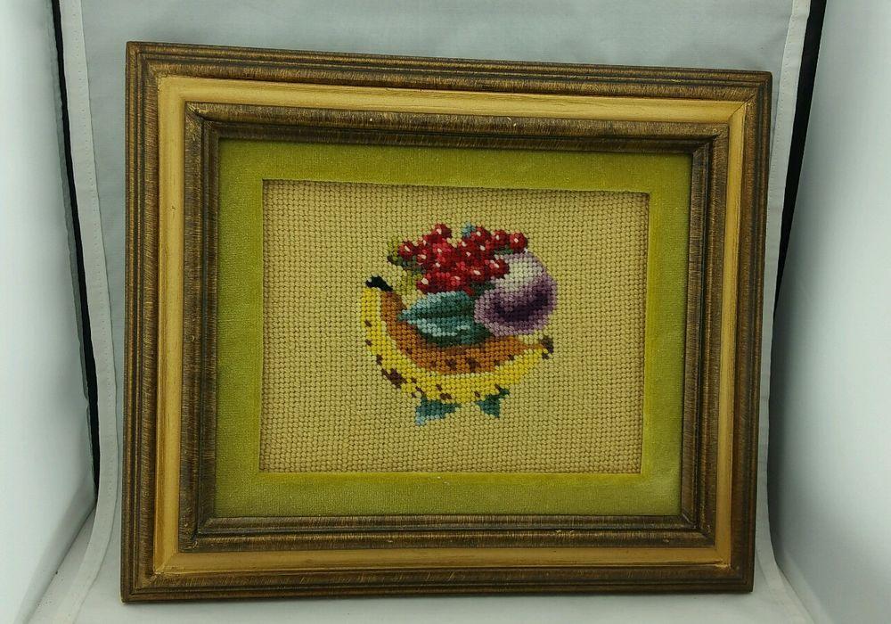 Vintage Needlepoint Fruit in Vintage Frame | Needlepoint, Frame ...