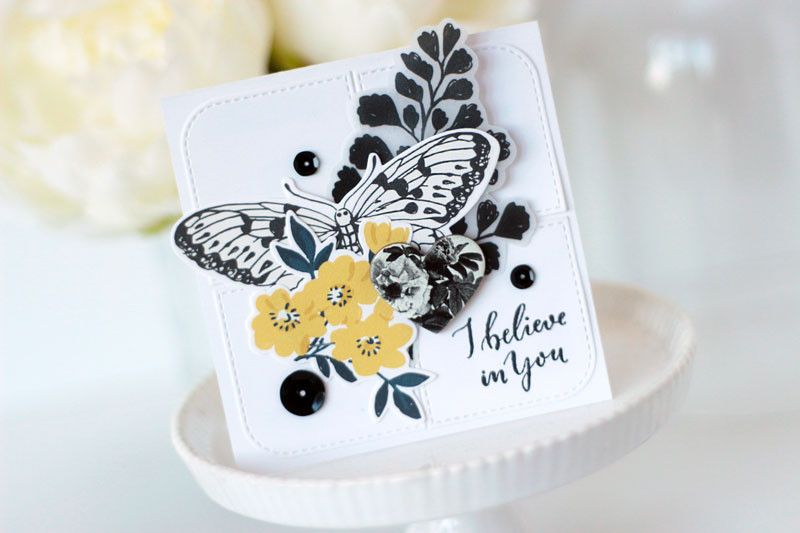 I believe in you card by Julia Stainton featuring Flourish line from Crate Paper