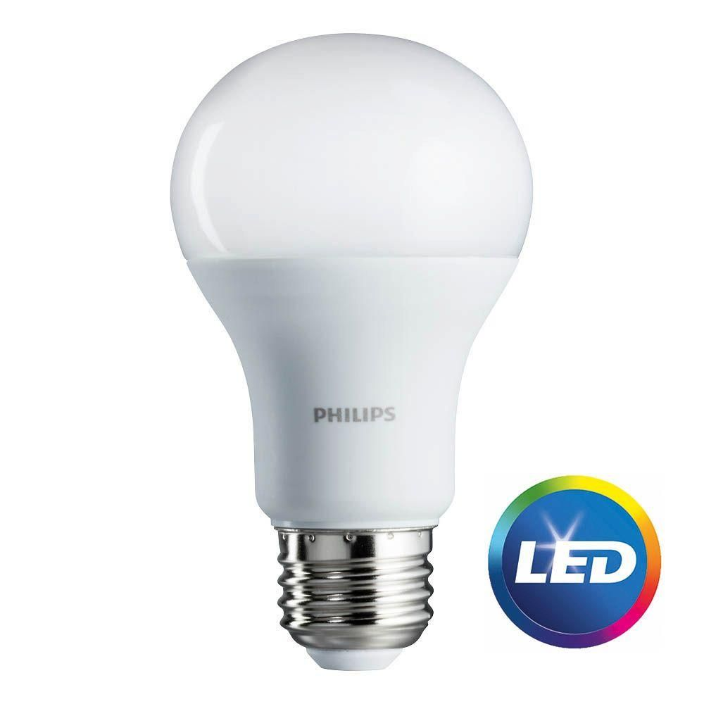 Philips 75 Watt Equivalent A19 Non Dimmable Energy Saving Led Light Bulb Soft White 2700k 8 Pack 462969 The Home Depot Led Light Bulb Led Can Lights Small Led Lights