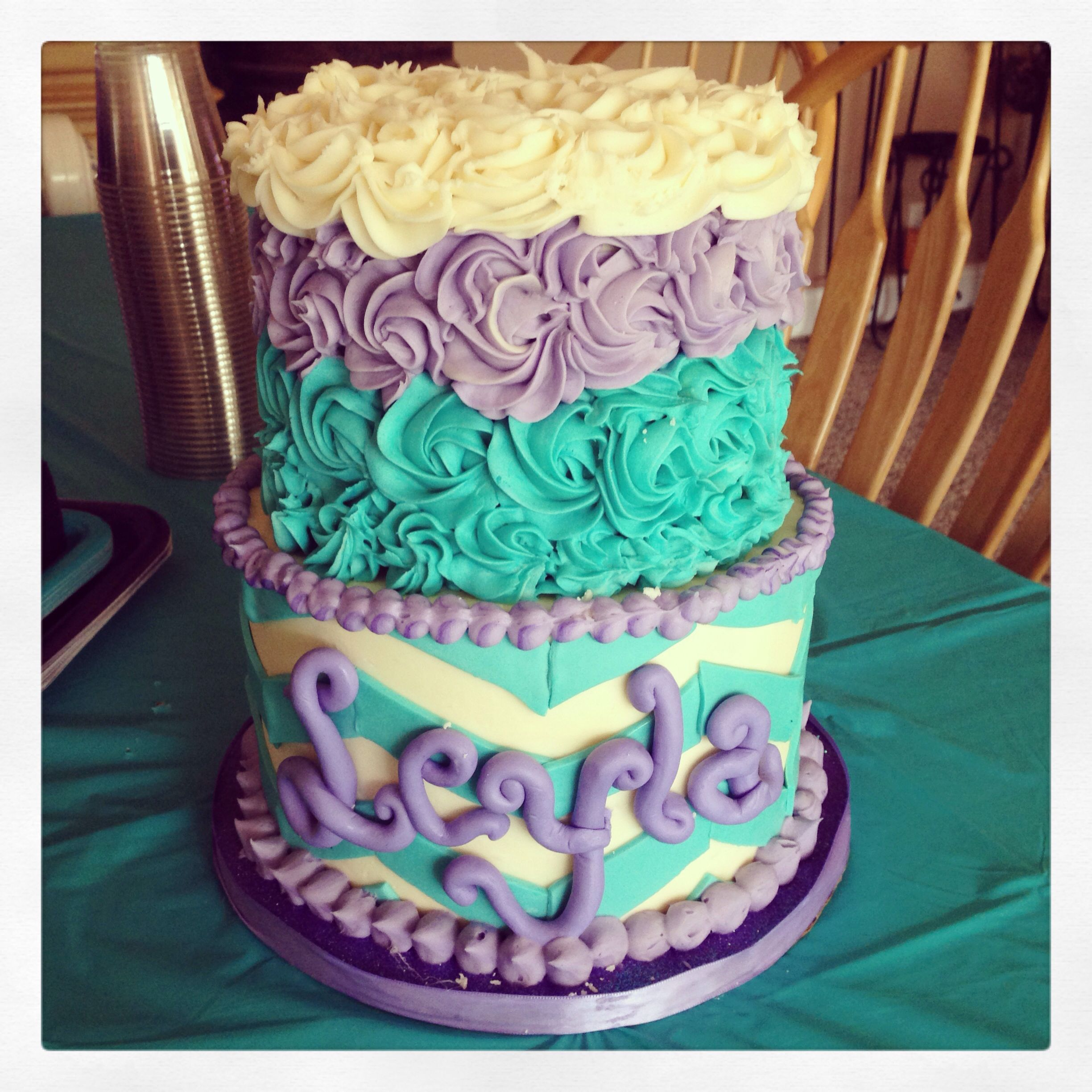 Purple And Teal Chevron Rose Baby Shower Cake Turquoise