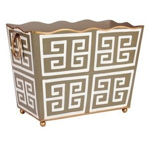 Grey Greek Key Rectangle Magazine Holder  from www.wellappointedhouse.com