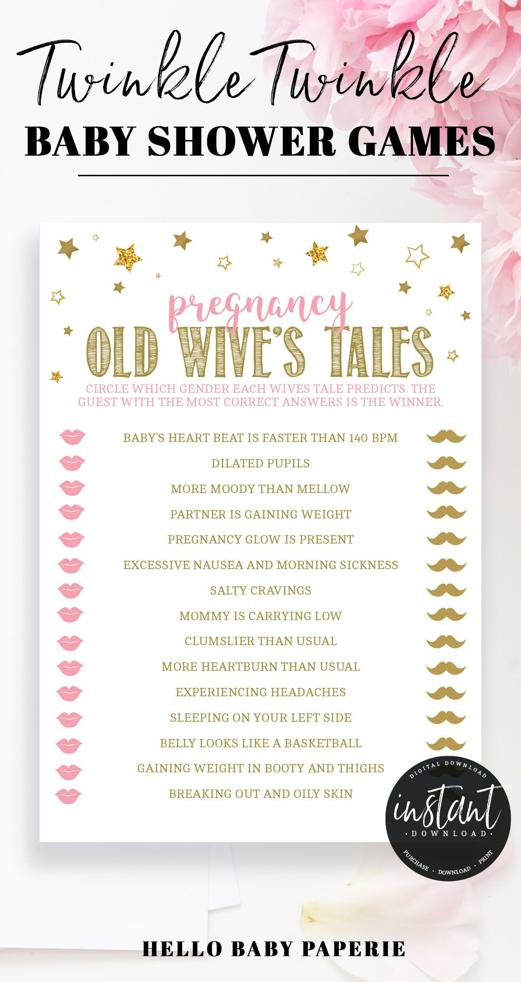 Pink and Gold Stars Old Wives Tales Game Template