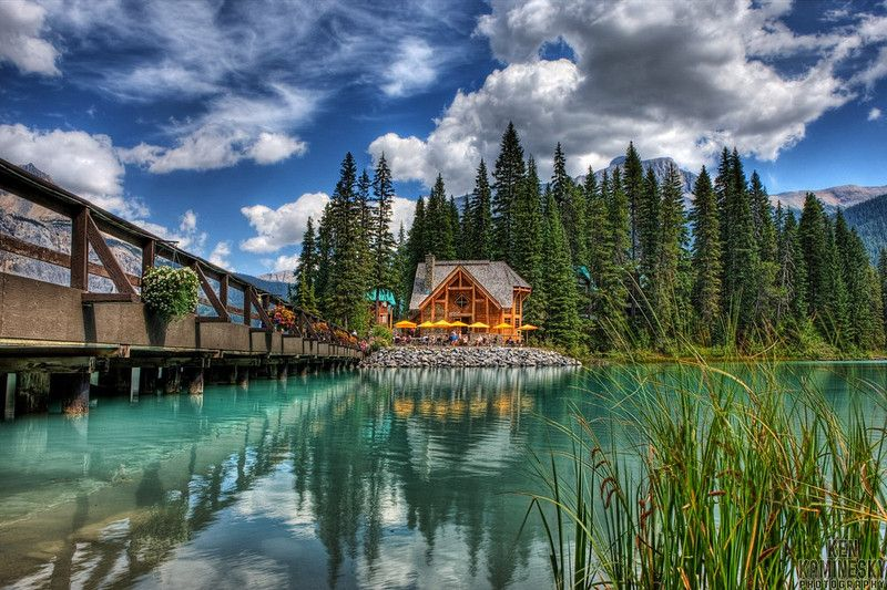 Emerald Lake is located in Yoho National Park, British Columbia, Canada. It is the largest of Yoho's 61 lakes and ponds, as well as one of the park's premier tourist attractions. Emerald Lake Lodge, a high end lodge perched on the edge of the lake, provides local accommodation..