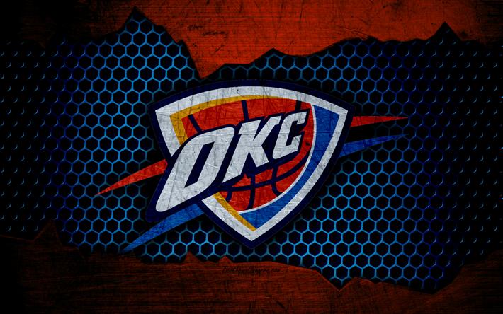 Download wallpapers Oklahoma City Thunder, 4k, logo, NBA