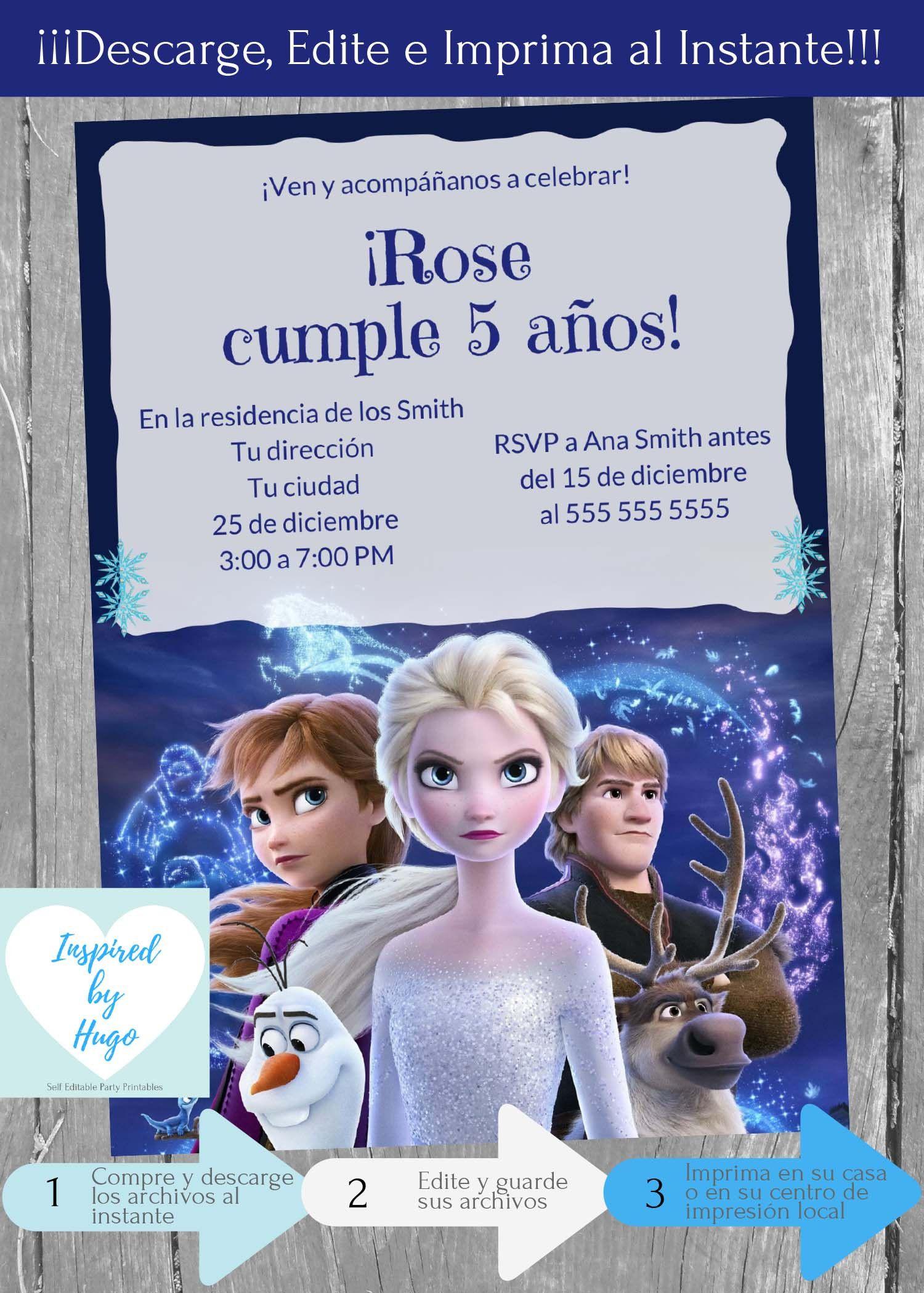Invitacion Frozen 2 Fiesta Cumpleanos Invitacion Disney Etsy In 2021 2nd Birthday Invitations Birthday Invitations 2nd Birthday