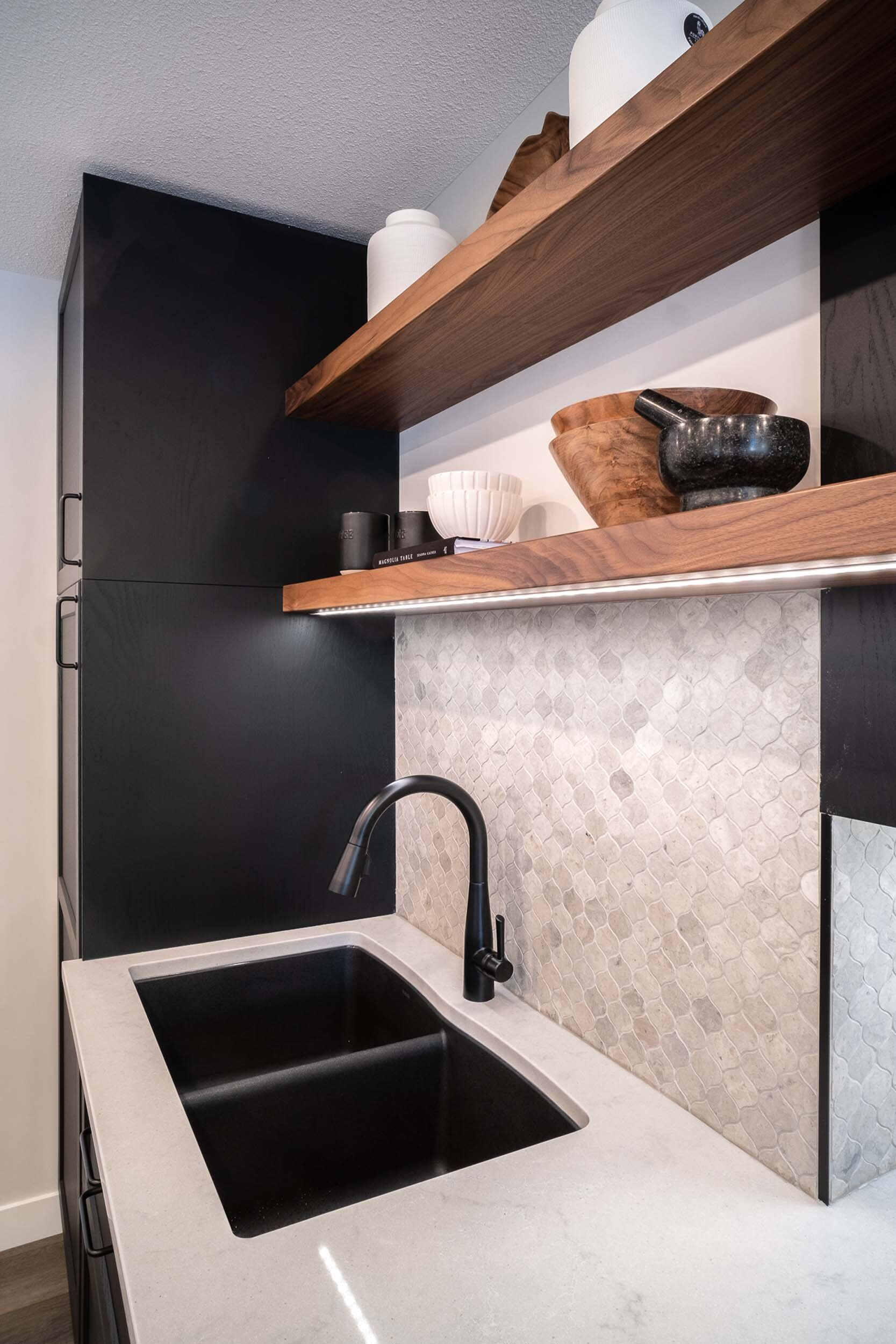 Led Strip Lighting Under Your Kitchen Upper Cabinets And Kitchen Floating Shelves Are Great Wa Cabinets And Countertops Upper Kitchen Cabinets Floating Shelves