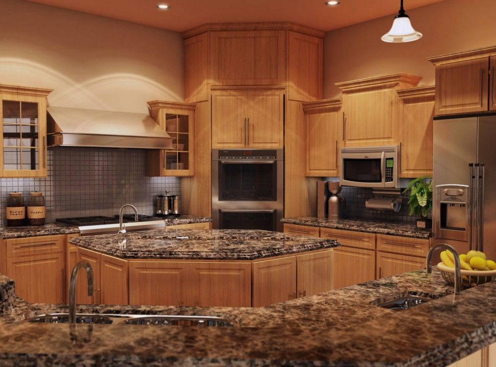 Kitchen quartz countertops with oak cabinets quartz for Kitchen setting pictures