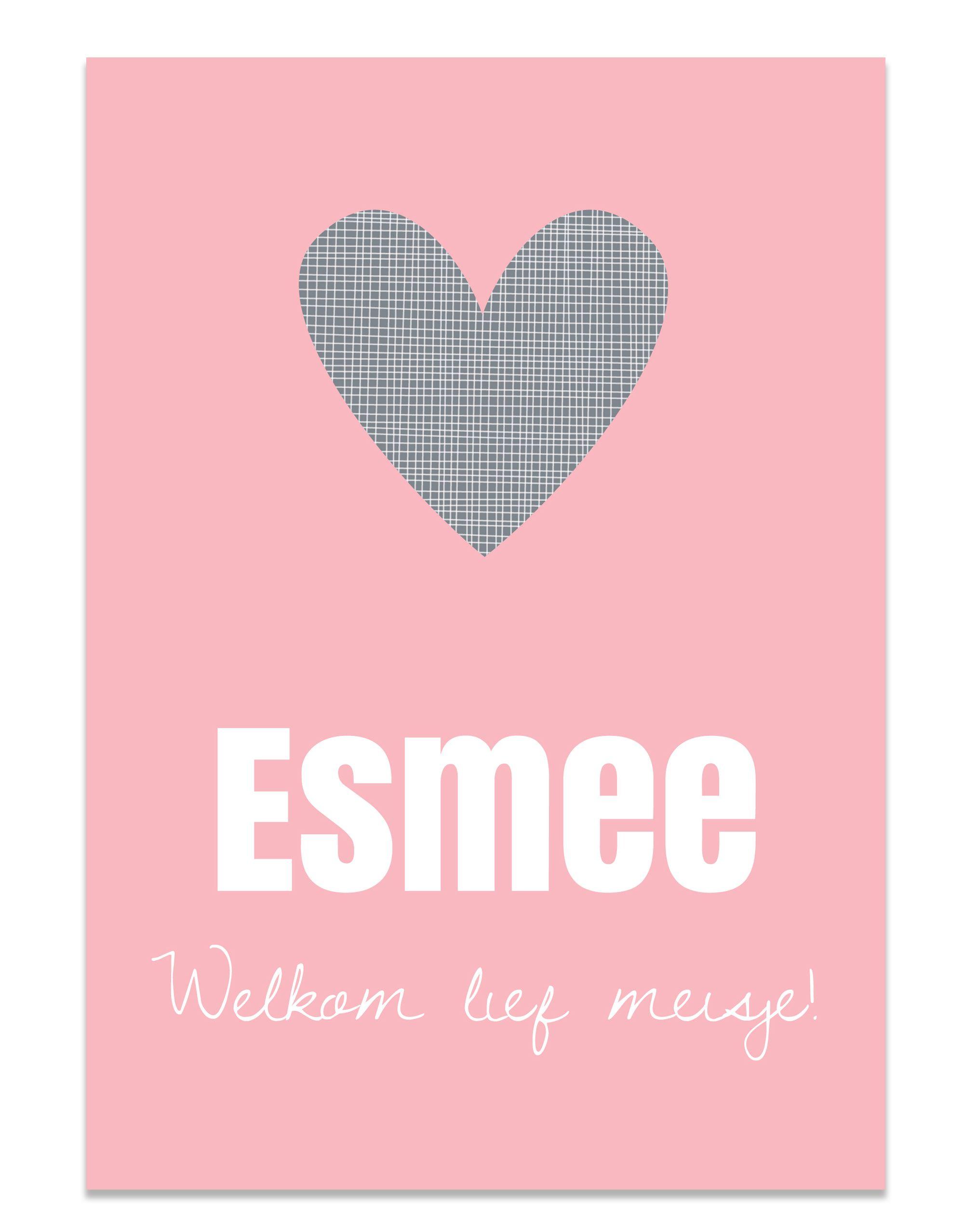 Poster roze met hartje