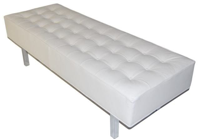 Contemporary Modern White Leather Tufted Bench Ottoman With Chrome Legs 543 00 Via Etsy