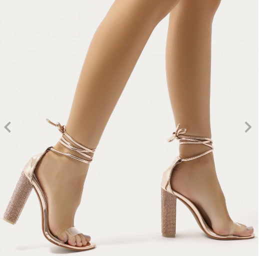 c7230b880fa Fatale Diamante Clear Perspex Lace Up Heels in Rose Gold