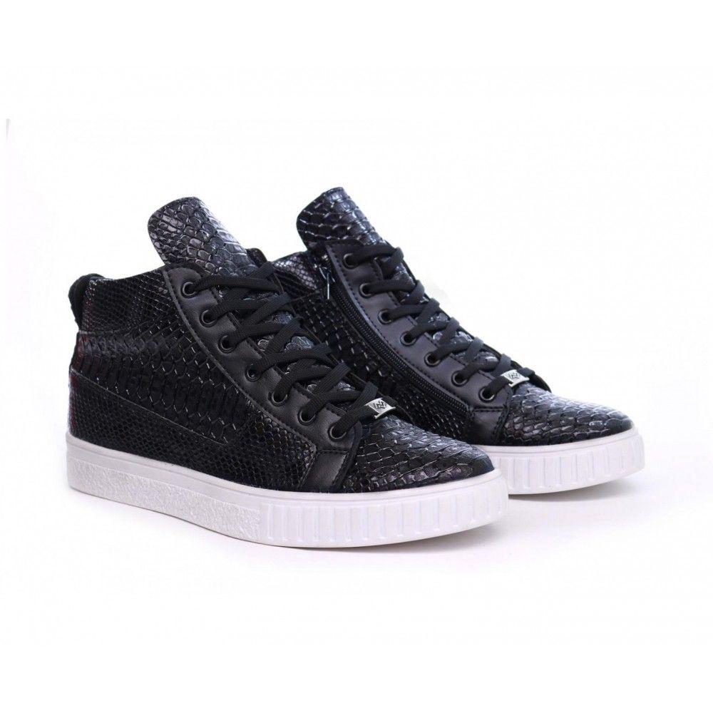 detailed look 735de 18685 Heren Hoge Python Sneakers - Zwart