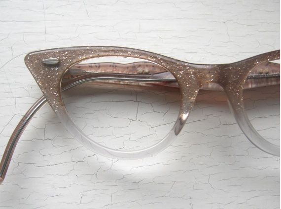 50's Pink Glitter Cat Eye Eyeglass Frames w Poodle on the Temples