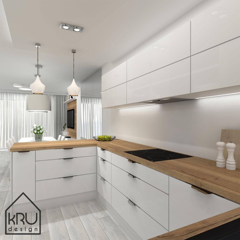 Kuchnia W Bieli I Drewnie Styl Nowoczesny Minimalistyczny Architektwnetrz Projektowaniewnetrz Kitchen Remodel Small Kitchen Pantry Design Kitchen Remodel