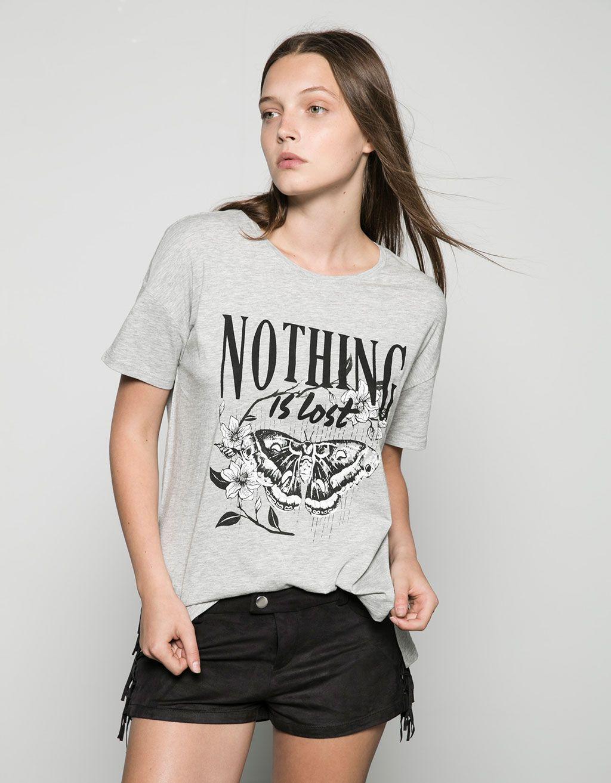 Camiseta Bershka estampada 'Midnight/Nothing' - Camisetas - Bershka España