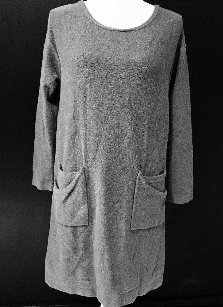 J Jill S Pure Jill Small Sweater Dress Blue Cotton Cashmere Pockets Long Sleeves #JJill #SweaterDress #Casual