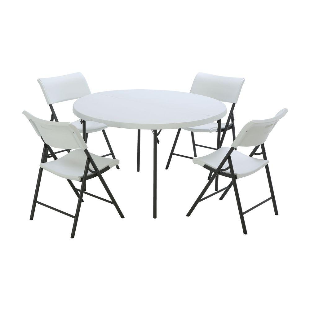Lifetime 5 Piece White Outdoor Safe Fold In Half Folding Table Set 80411 The Home Depot Folding Table Round Folding Table Fold In Half Table