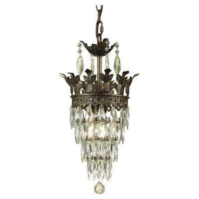 Features One Light Mini Chandelier Glass Diamond Crystal Shade Includes