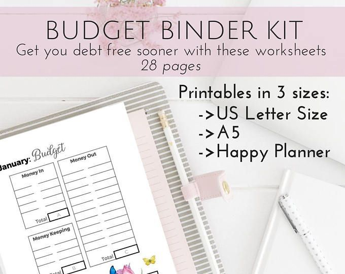 PRETTY Budget Planner Kit, Happy Planner Printable Budget, Cash - cash template