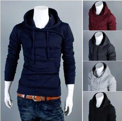 XTX Mens Hooded Simple Coat Solid Color Jacket Slim Zip Sweatshirts