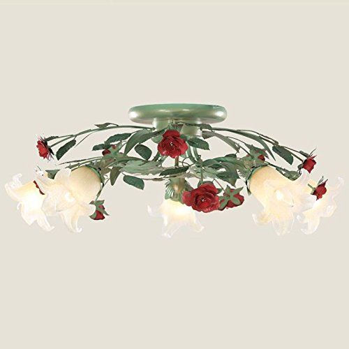 Vintage Pastoral Eisen Blumen Deckenleuchte Lampe Romantische