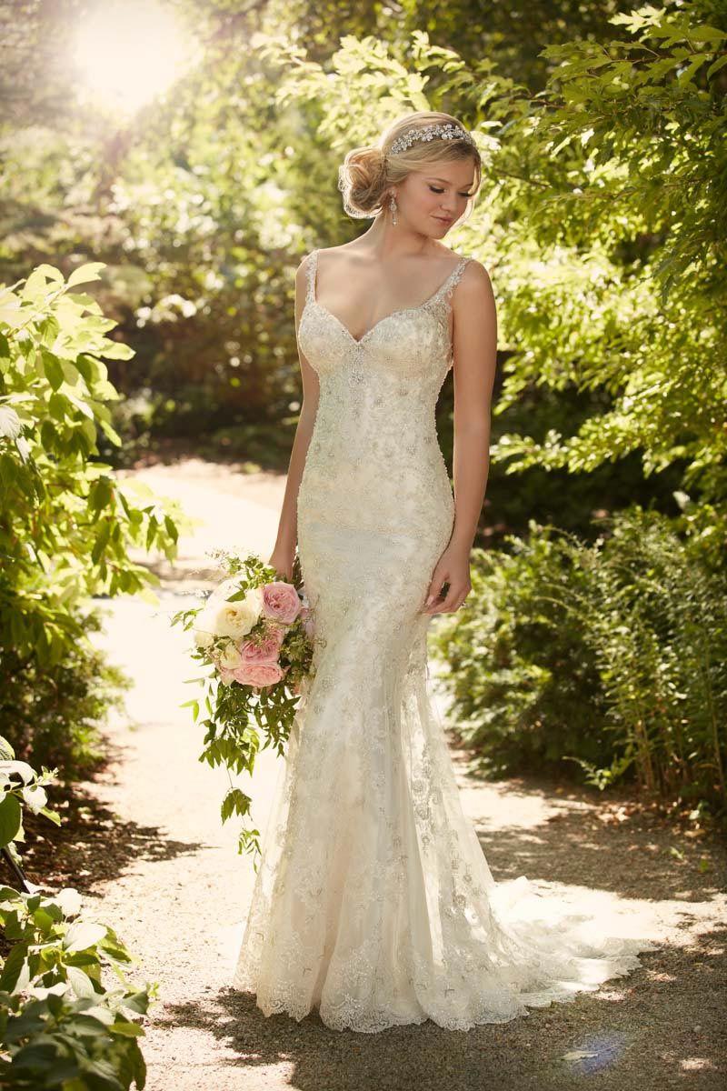 Champagne coloured wedding dress by Essense