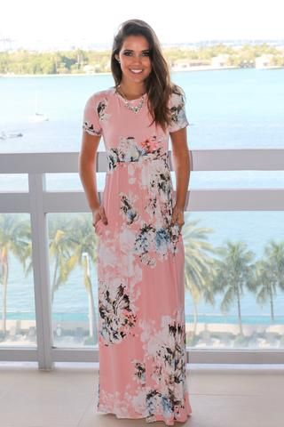 636c0b795b3a4 Blush Floral Maxi Dress with Short Sleeves | Style | Dresses, Floral ...