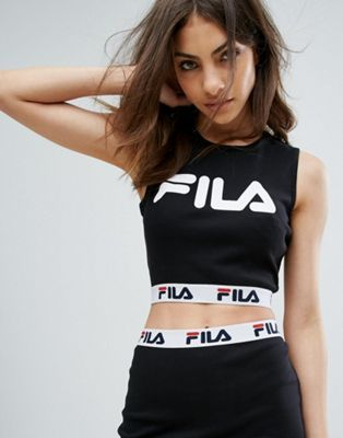 7801a0f57e3875 Fila Sleeveless Crop Top With Front Logo And Tape Detail In Rib Co-Ord