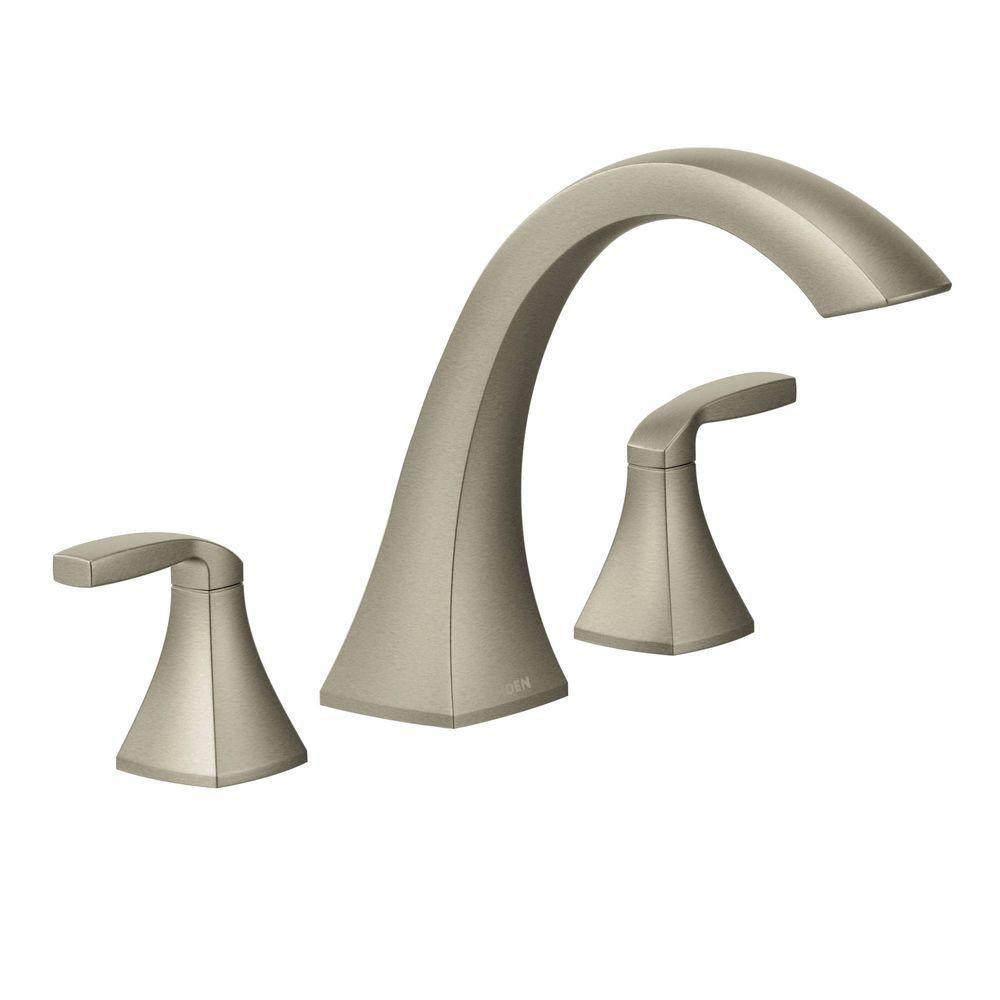 Moen Voss 2 Handle Deck Mount High Arc Roman Tub Faucet Trim Kit In Roman Tub Faucets Tub Faucet Roman Tub