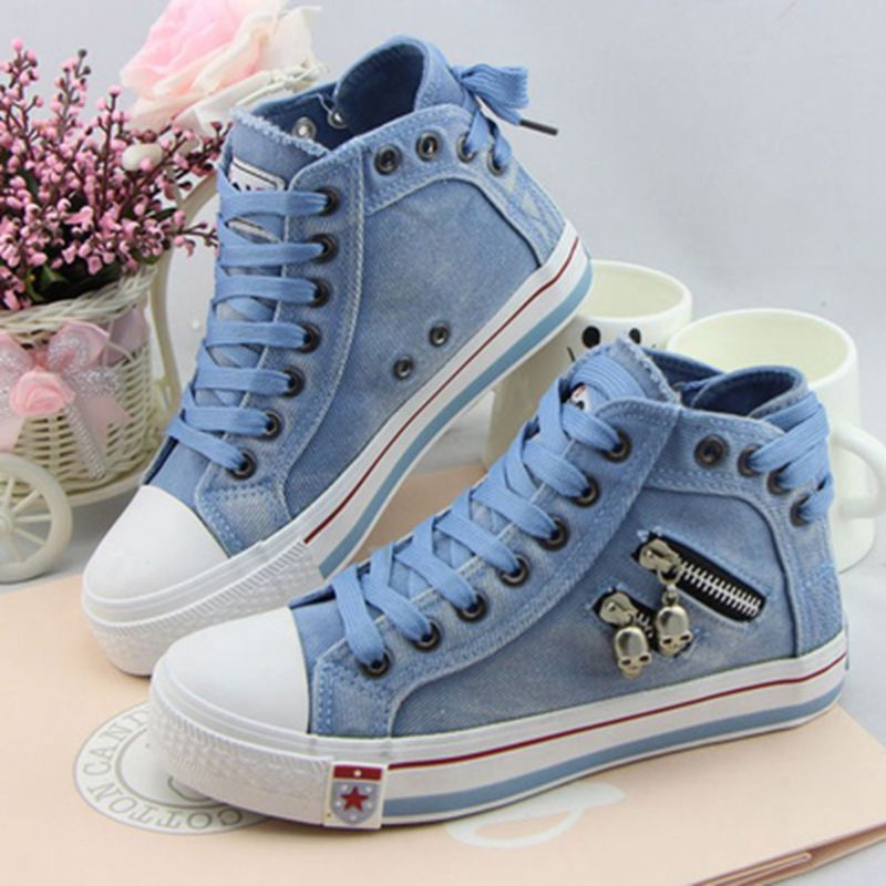 2017 Womens Vulcanize Shoes Elevator denim canvas shoes womens high  casual shoes after the bandage lady