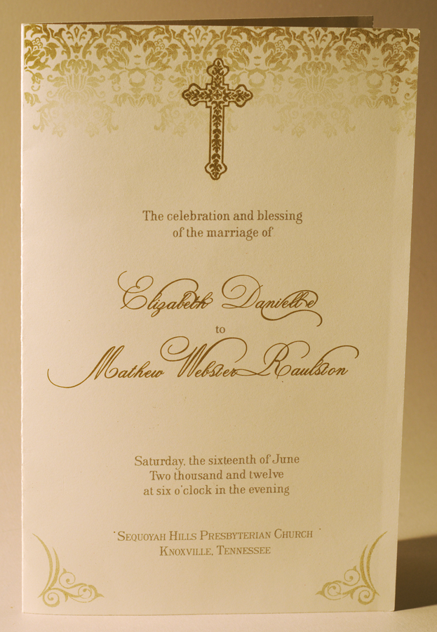 Simple card wedding program Single color thermography Designed and