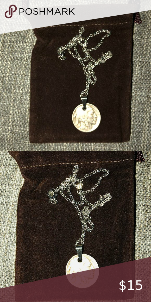 1936 Buffalo Nickel Coin Pendant Silver Necklace Vintage Buffalo Nickel Coin Pendant Necklace In Exc In 2020 Coin Pendant Silver Pendant Necklace Coin Pendant Necklace