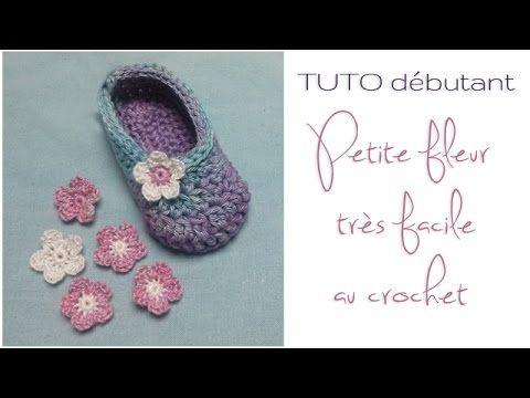 tuto d butant petite fleur au crochet tr s facile r aliser chaussons partie 3 crochet et. Black Bedroom Furniture Sets. Home Design Ideas