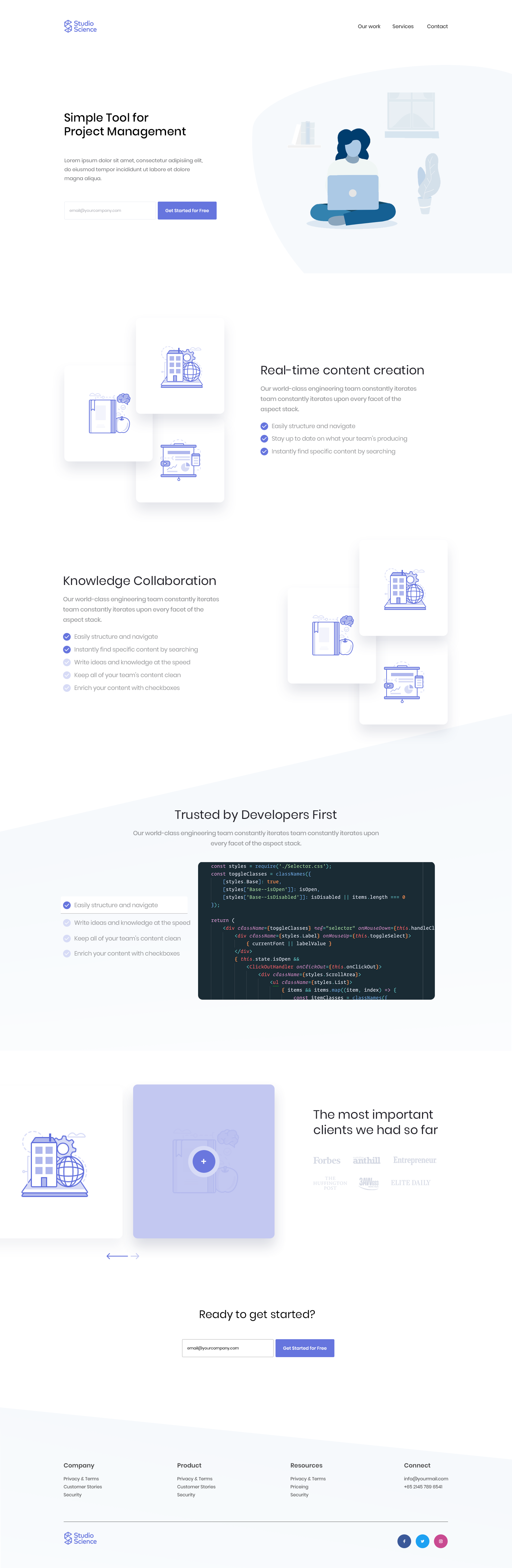 Project Management Landing Page Full Web Ui Design Pinterest