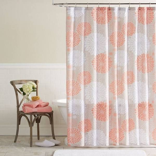 Peach Shower Curtain With Images Fabric Shower Curtains Coral