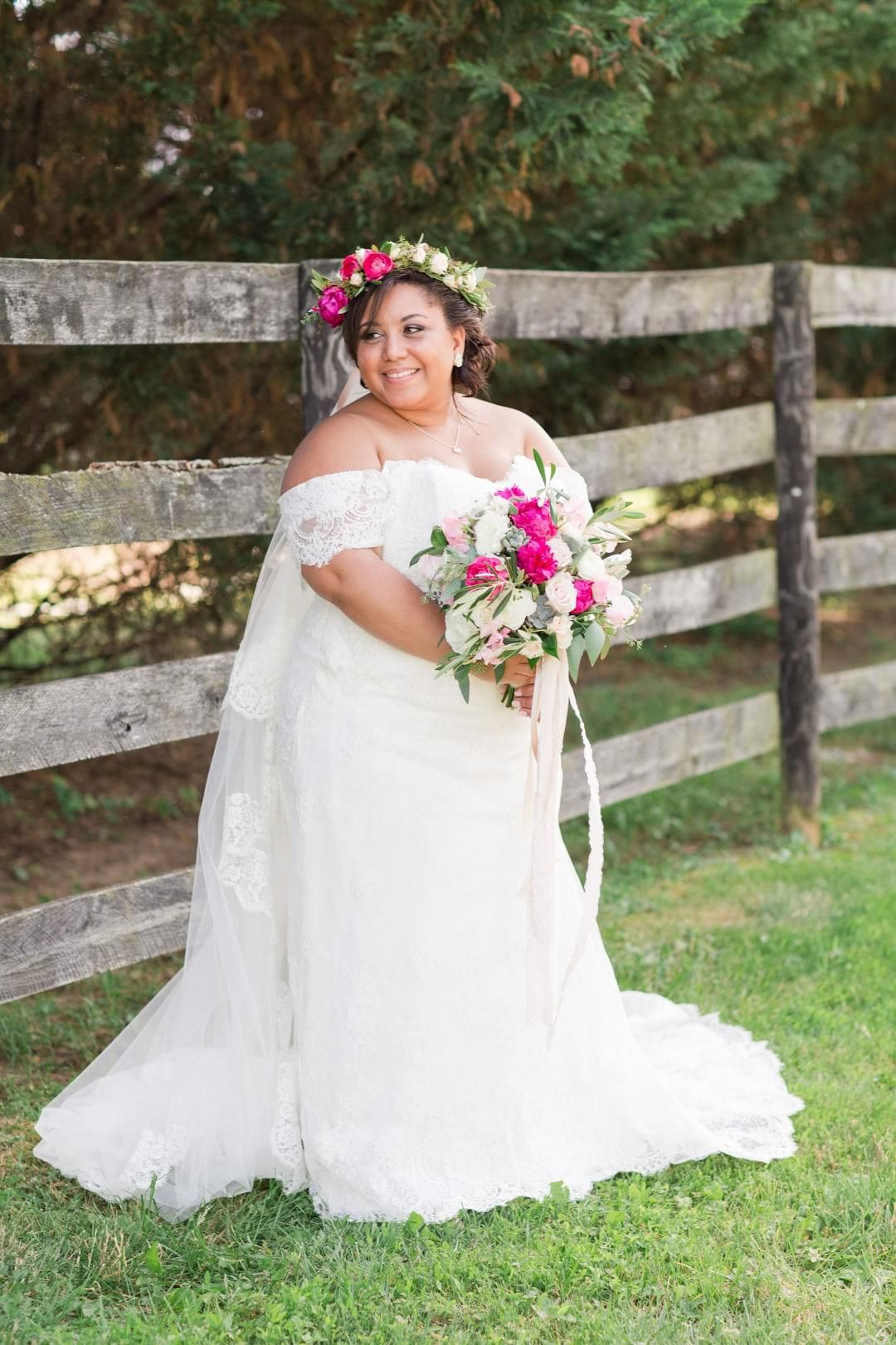 Vintage inspired romance in dc waterford va flower crown veil off the shoulder lace wedding dress flower crown veil hot ombrellifo Images
