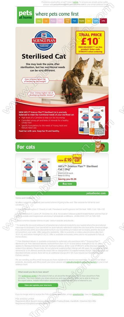 Company Pets at Home Ltd Subject Free delivery on Hill's