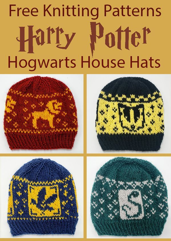 Free Knitting Pattern for Harry Potter Hogwarts House Hats #knittingpatternsfree