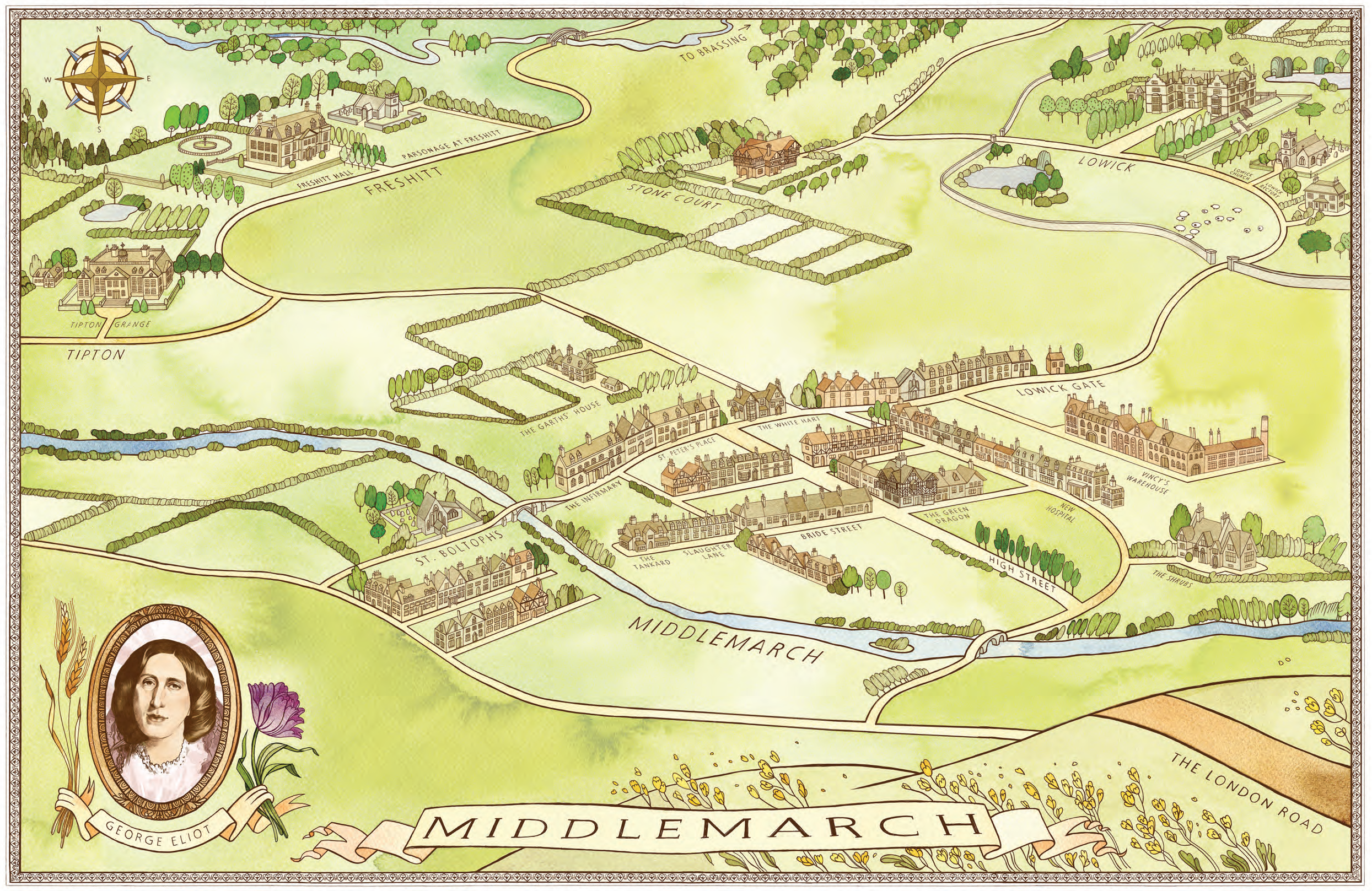 Middlemarch Map | Physical map, Me on a map, Penguin random house