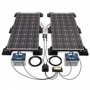 200W Black Solar Panel Kit, Corner/Side Mountings & Cable