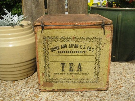 Antique Wooden Tea Crate With Perfect