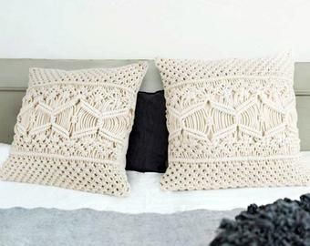 Macrame pillow, boho chic decor, cottage pillow, boho pillow covers, farmhouse pillow