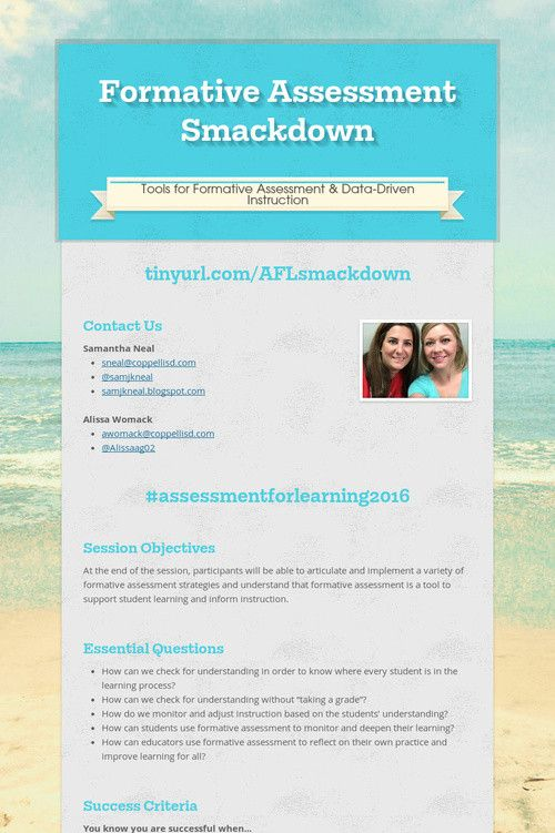 Formative Assessment Smackdown Informal Assessment Ideas - formative assessment strategies
