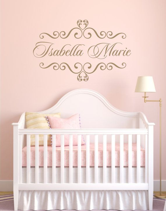 Personalized Baby Nursery Name Vinyl Wall Decal Elegant Shabby Chic Heart Frame Room