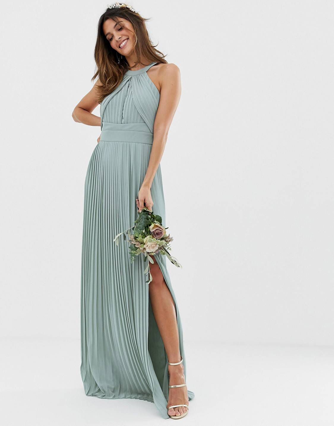 2a8cc9054606e TFNC bridesmaid exclusive pleated maxi dress in sage in 2019   mas des  oules wedding   Asos bridesmaid dress, Bridesmaid dresses, Sage bridesmaid  dresses