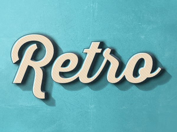 Retro Text Effect #2 Use this fun retro text effect to transform a plain type into a beautiful, distinctive one that will match your vintage design projects. Get the desired result just by typing your text inside the smart object. The credit for this resource goes to  Zeppelin Graphics.