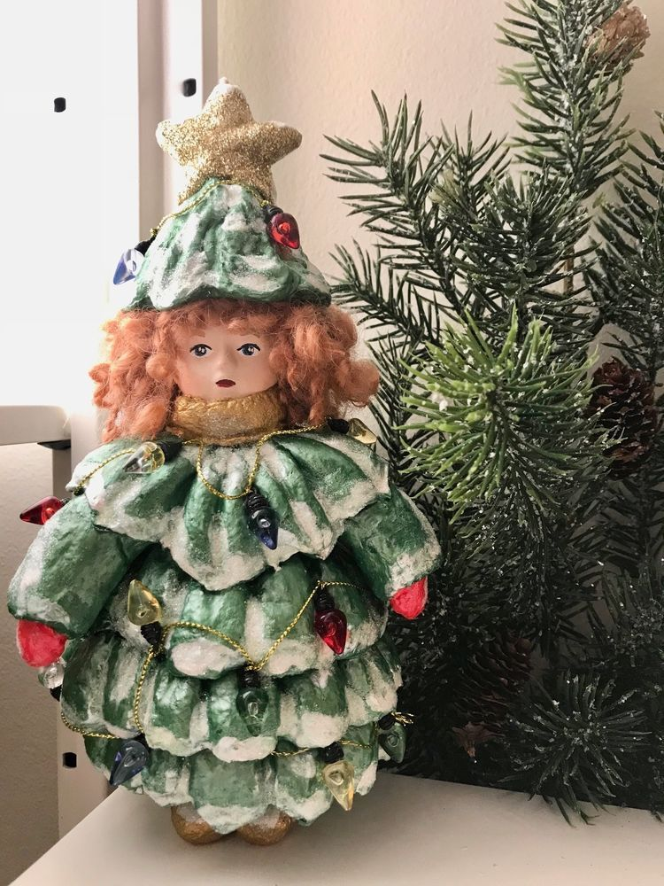 Ornament Handmade Doll Girl In Christmas Tree Costume Kid Child Spun Cotton Ooak Artistzhannazeta Christmas Tree Costume Handmade Ornaments Dolls Handmade